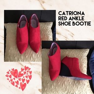 (I) CATRIONA▪️RED SUEDE WEDGE BOOTY 10M